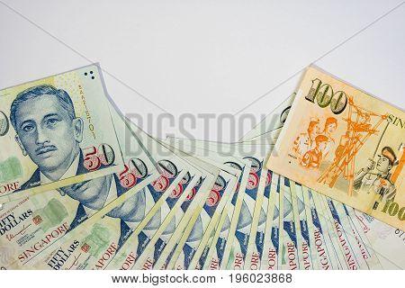 Singapore Dollar, Banknote Singapore On White Background Isolated