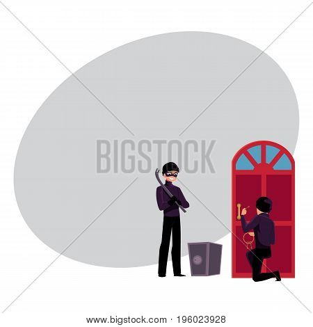 Thief, burglar breaking in house, going to force open safe box, cartoon vector illustration with space for text. Burglar, thief snapping door lock, opening safe box with tire lever
