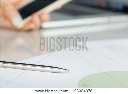 Metal pen for business man ready to sign contract