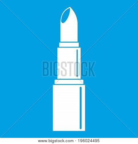 Lipstick icon white isolated on blue background vector illustration