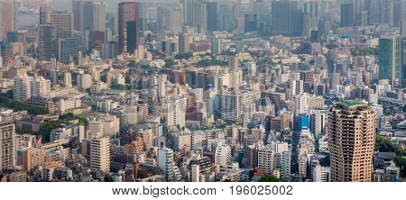 Tokyo commercial buildings and sky scrapers aerial view