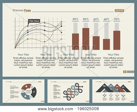 Infographic design set can be used for workflow layout, diagram, annual report, presentation, web design. Business and statistics concept with process, line, bar and percentage charts.