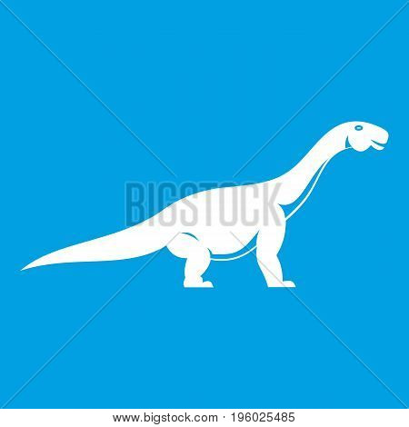 Titanosaurus dinosaur icon white isolated on blue background vector illustration