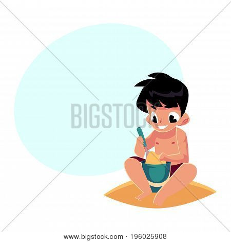 Cute little boy playing with sand and bucket on sandy beach, cartoon vector illustration with space for text. Little boy, child, kid sitting on the beach, playing with sand, bucket and shovel