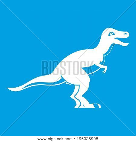 Theropod dinosaur icon white isolated on blue background vector illustration