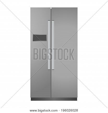Gray realistic fridge isolated on a white background