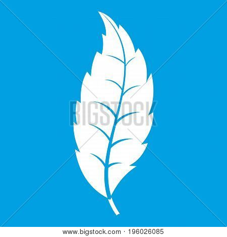 Narrow toothed leaf icon white isolated on blue background vector illustration