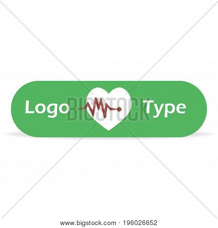 Logo for the pharmacy or other medical businesses. Heartbeat with text in green frame vector illustration