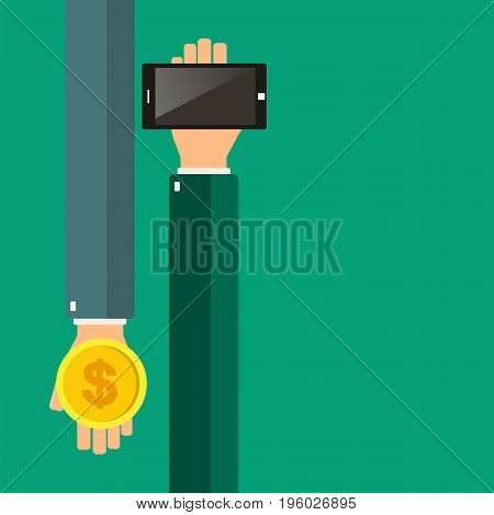 Hands holding a smartphone. Buying smartphone. Vector illustration.