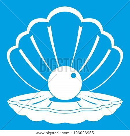 Pearl in a sea shell icon white isolated on blue background vector illustration