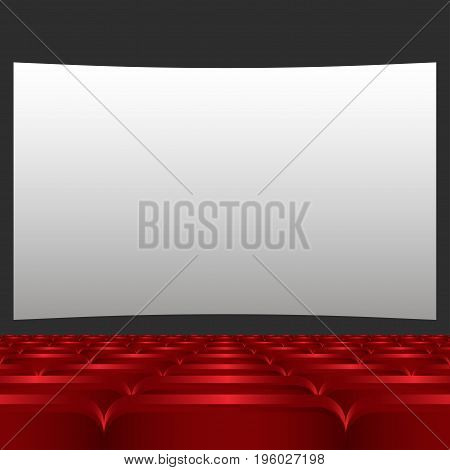Rows of red cinema or theater seats in front of white blank screen. Red chairs or chairs in the cinema vector illustration