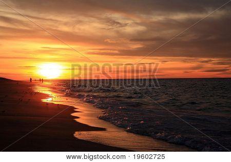 Sunset on beach in Cape Cod