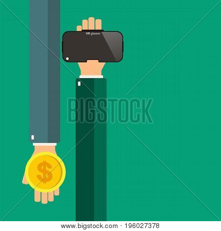 Hands holding virtual reality glasses. Buying virtual reality glasses. Vector illustration.