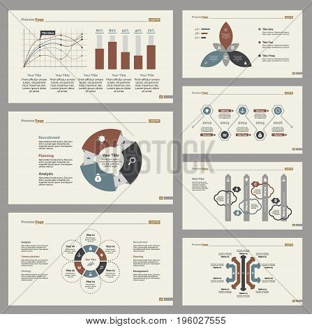 Infographic design set can be used for workflow layout, diagram, annual report, presentation, web design. Business and management concept with process, line and bar charts.
