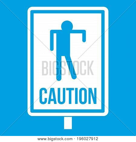 Zombie road sign icon white isolated on blue background vector illustration