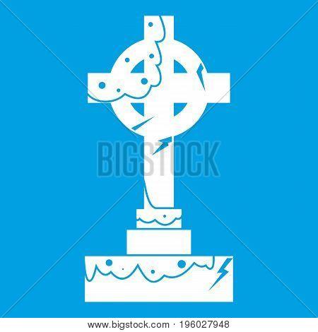 Irish celtic cross icon white isolated on blue background vector illustration