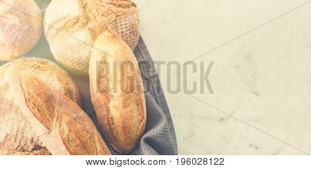 Different Kinds Of Bread On Background