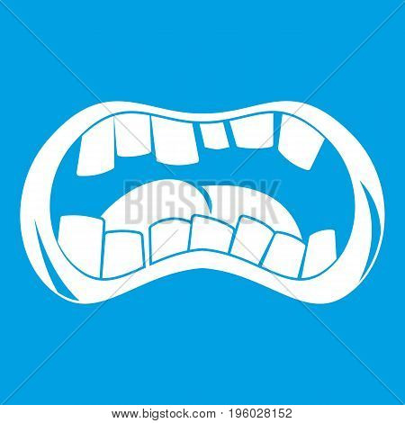 Zombie mouth icon white isolated on blue background vector illustration
