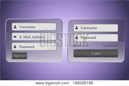 Transparent Login and sign-up vector template with luxury effect