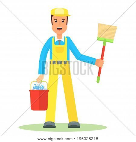 Service Man With Bucket