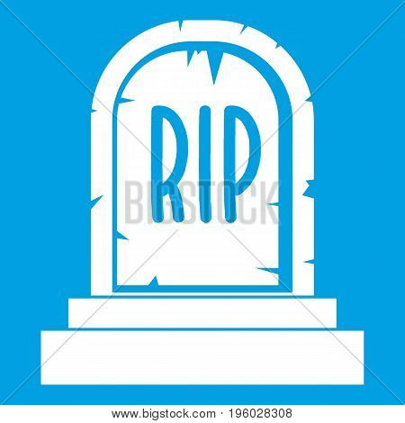 Gravestone with RIP text icon white isolated on blue background vector illustration