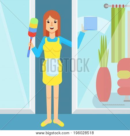 Service Woman Washes Window