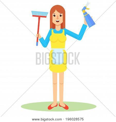 Service Woman With Brush