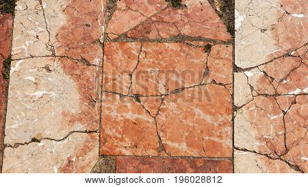 Marble Paving Slabs Of The Old, Crumbling Slabs. Marble Texture Background, Abstract Texture For Des