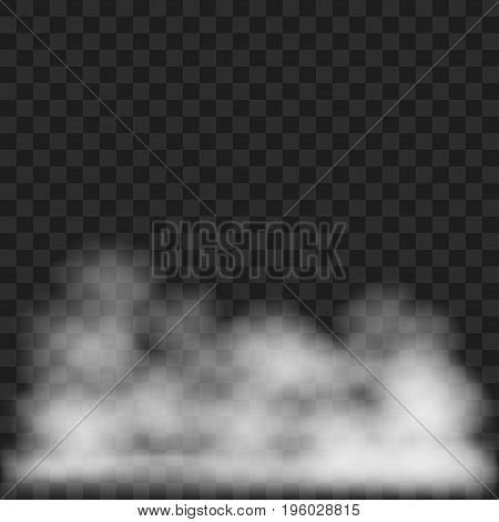 Gray smoke or steam isolated on plaid background vector illustration