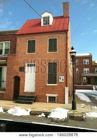 Edgar Allen Poe's Baltimore, Maryland home in Winter