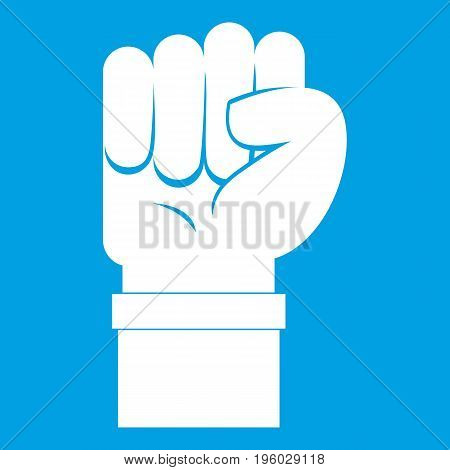Fist icon white isolated on blue background vector illustration