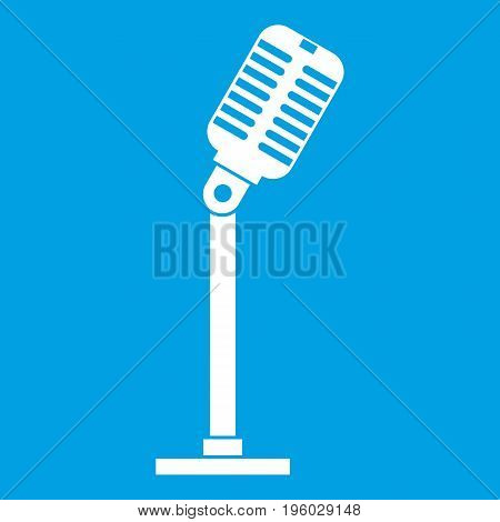 Microphone icon white isolated on blue background vector illustration