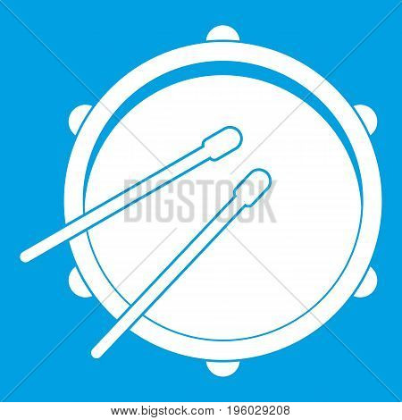 Drum icon white isolated on blue background vector illustration