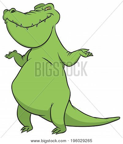 Funny smiling crocodile - Vector stylized illustration