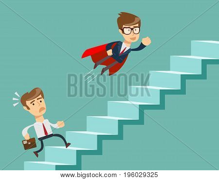 Super businessman in red cape flying pass another businessman climbing stairs. Business competition concept.