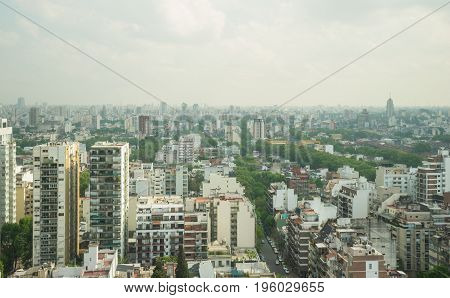 BUENOS AIRES, ARGENTINA SEPTEMBER 7: View of the skyline on a cloudy day on September 7, 2016 in Buenos Aires, Argentina.