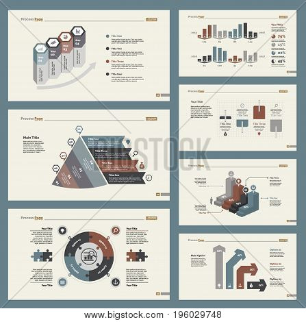 Infographic design set can be used for workflow layout, diagram, annual report, presentation, web design. Business and training concept with process, bar and percentage charts.