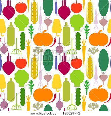 Seamless trendy pattern with color silhouettes of geometric vegetables. For vegan restaurant menu design posters packaging tablecloth.