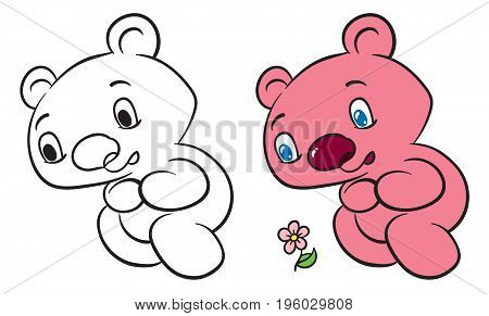 Happy teddy bear set - cute cartoon bear vector hand drawing illustration