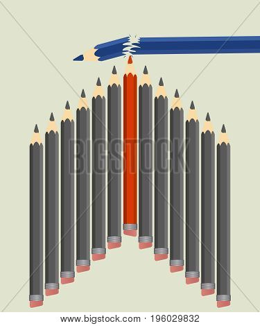 The concept of leadership and competition. A group of pencils win and break a competitor. Vector illustration