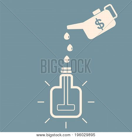 Monetary motivation for generating new ideas. A square bulb glows fueled with money. New idea concept. Vector illustration.