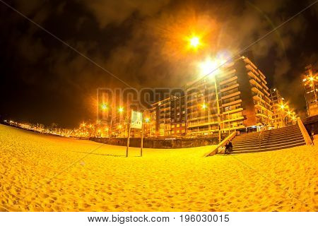 MONTEVIDEO, URUGUAY - SEPTEMBER 9: View on the beach at night on September 9, 2015 in Montevideo, Uruguay.