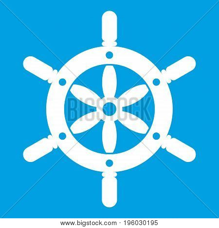 Ship wheel icon white isolated on blue background vector illustration