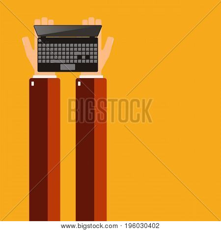Hands holding a laptop. Vector illustration. x