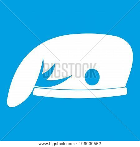 Military cap icon white isolated on blue background vector illustration
