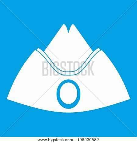 Forage cap icon white isolated on blue background vector illustration