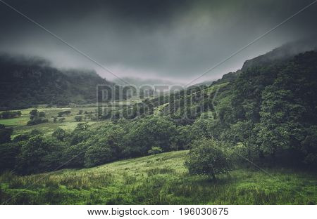 Green Hills Capped in Mist Snowdonia National Park UK