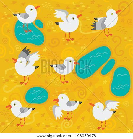 seamless background with seagulls on the sand vector