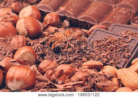 Pile Of Milk Chocolate Pieces; Chocolate With Hazelnuts