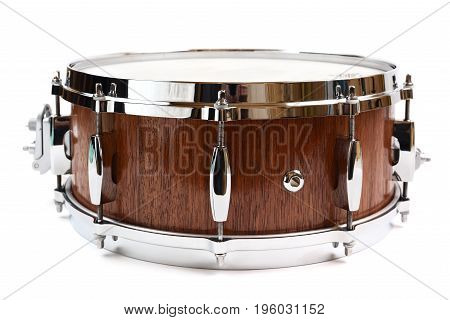 Snare drum made with merbau wood isolated on white